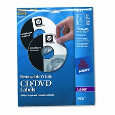 5931 Laser CD/DVD Labels, 50/Pack
