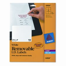 Removable Inkjet/Laser I.D. Labels, 150/Pack