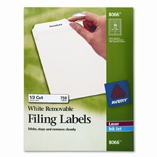 Removable Inkjet/Laser Filing Labels, 750/Pack