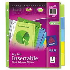 Worksaver Big Tab Plastic Dividers (5 Tabs)