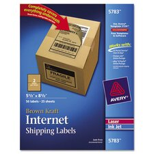 <strong>Avery Consumer Products</strong> Kraft Shipping Labels, 50/Pack
