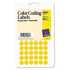 Removable Self-Adhesive Color-Coding Labels, 840/Pack
