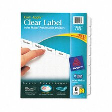 Index Maker Clear Label Dividers, 8-Tab, Letter, 5 Sets