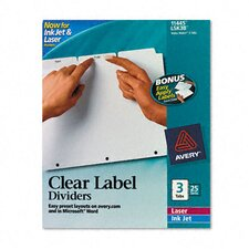 Index Maker Clear Label Dividers (3 Tabs, 25 Sets/Pack)