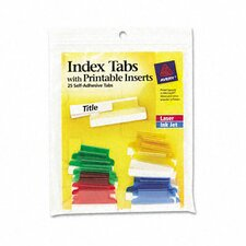 Self-Adhesive Tabs with White Printable Inserts, 1 Inch,, 25/Pack
