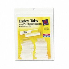 Self-Adhesive Tabs with White Printable Inserts, One Inch, 25/Pack