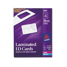 Laminated Laser/Inkjet Id Cards, 30/Box