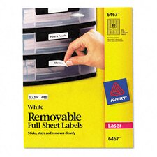 Removable Inkjet/Laser I.D. Labels, 2000/Pack