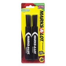 Permanent Ink Marker, Regular, Chisel Point, 2/PK, Black