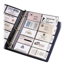 "Business Card Pages, Tabbed, Holds 100 2""x3-1/2"" DS., Clear"