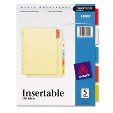 "Insertable Dividers, 3-HP, 5 Tab, 8-1/2""x11"", Multi-Color"