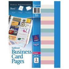 <strong>Avery Consumer Products</strong> Tabbed Business Card Binder Page, 20 2 x 3-1/2 Cards/Page, Clear, 5 Pages/Pack