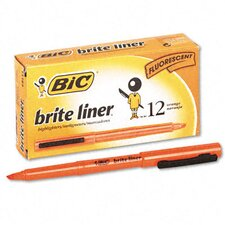 <strong>Bic Corporation</strong> Chisel Tip Brite Liner Highlighter, 12/Pack