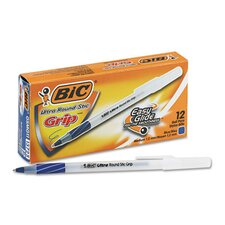 <strong>Bic Corporation</strong> Medium Ultra Round Stic Grip Ballpoint Stick Pen, 12/Pack
