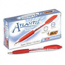 Medium Atlantis Ballpoint Retractable Ball Pen, 12/Pack