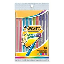 <strong>Bic Corporation</strong> Shimmers Stick Pen, Medium Point, 10 per Pack, Assorted