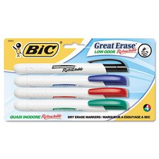 Retractable Low Odor Dry Erase Chisel Tip Marker (4/Pack)