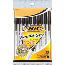 10 Count Round Stick Ballpoint Pen in Black (Set of 12)