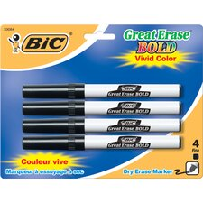 <strong>Bic Corporation</strong> Fine Point Great Erase Bold Dry Erase Marker (4 Count)