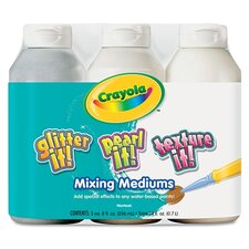 <strong>Crayola LLC</strong> Glitter It! Pearl It! Texture It! Tempera Mixing Mediums, 3/Set