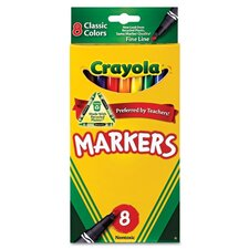 Non-Washable Markers, Fine Point, Classic Colors, 8/Set
