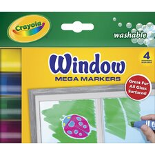 <strong>Crayola LLC</strong> Washable Window Mega Markers (4 Pack)