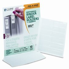 "Self-Adhesive Ring Binder Labels for 1-1/2"" Binders, 3/4 x 2 1/2, Clear, 12/Pack"