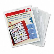 Tabbed Business Card Binder Pages with 20 Cards Per Letter Page (5 Pages)