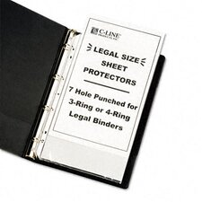 Hvywt Poly Sht Prtctor, Clear, Punched for 3 or 4-Ring Binder (50/Box)