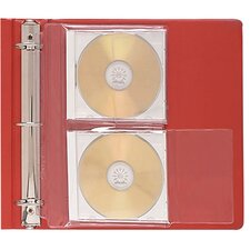 CD Jewel Case Ring Binder Storage Pages, 2 CDs/Case, 10 per Pack, Clear