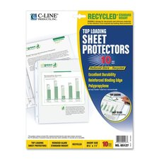 Recycled Top Load Sheet Protector, Reduced Glare, Clear