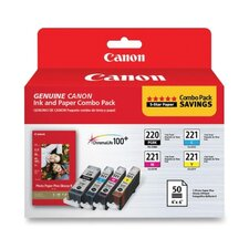 <strong>Canon</strong> Kit For, PG1220/ClearI221/PP201, Color/Paper Combo, 12 per Pack