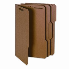 Folder w/2 Fasteners, 1/3 Cut, Top Tab,Legal, 17 Point, Kraft, 50/Box