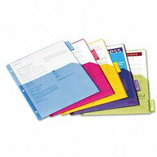 Poly 1-Pocket Index Dividers, 5-Tabs/Set, 4 Sets/Pack