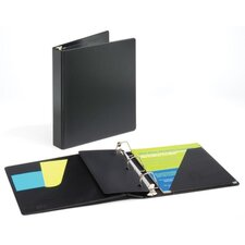 "D-Ring Binder, Vinyl, 1"" Capacity, 11""x8-1/2"", Black"