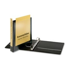"EconomyValue ClearVue Round-Ring Binders, Non-locking, 1-1/2"" Capacity, Black"