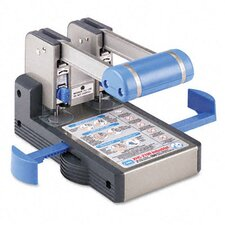 "100-Sheet Extra Heavy-Duty XHC-2100 Two-Hole Punch, 9/32"" Holes, Blue/Gray"
