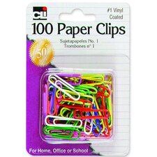 Paper Clips, No. 1, Vinyl, Rust-resistant, 100/CD, Assorted