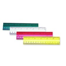 "Ruler, 6"", Beveled Edges, Plastic, Assorted"