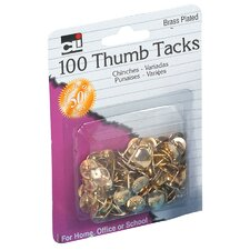"<strong>Charles Leonard Co.</strong> 0.38"" Brass Plated Thumb Tack 100 Count"