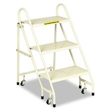 <strong>Cramer Industries, Inc.</strong> Steel Folding Three-Step Ladder with Retracting Casters, Beige