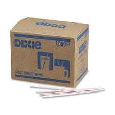 "<strong>Dixie</strong> Stir Sticks, Plastic, 5-1/2"", 1000 per Box, White w/ Red Stripes"