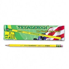 Ticonderoga Woodcase Pencil, F #2.5, Yellow Barrel, 12 per pack