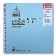 "Household Budget File, w/ Pockets, 11""x9-3/4"", Light Blue"