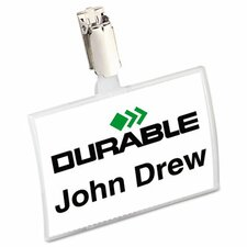 <strong>Durable Office Products Corp.</strong> Click-Fold Convex Name Badge Holder, Strap Clip, 25/Pack