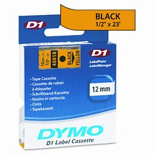 "D1 Standard Tape Cartridge for Label Makers, 0.5"" x 23'"