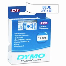 D1 Tape Cartridge f/Electronic Label Makers, 3/4in x 23ft, Blue on White