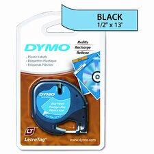 """Letratag Plastic Label Tape Cassette, 0.5"""" x 13'"""