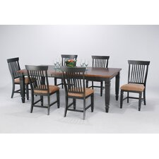 Cafe Xpress Farmhouse Leg Dining Table in Distressed Amaretto with Onyx Finished Legs And Apron