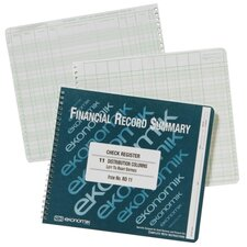 "Check Registry, 11Columns, 8-3/4""x10"", Green Ink/White Paper"